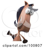 Royalty Free RF Clipart Illustration Of A 3d Charlie Horse Character Facing Front And Waving Over A Sign
