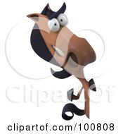 Royalty Free RF Clipart Illustration Of A 3d Charlie Horse Character Facing Front And Waving Around A Sign