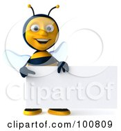 Royalty Free RF Clipart Illustration Of A 3d Bee Character Facing Front With A Sign by Julos