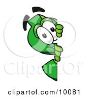 Clipart Picture Of A Dollar Sign Mascot Cartoon Character Peeking Around A Corner