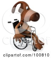 Royalty Free RF Clipart Illustration Of A 3d Brown Pooch In A Wheelchair Wheeling To The Right
