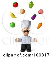 Royalty Free RF Clipart Illustration Of A 3d Chef Man Facing Front And Juggling Produce