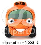 3d Orange Taxi Cab Character Facing Forward