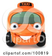 Royalty Free RF Clipart Illustration Of A 3d Orange Taxi Cab Character Facing Forward