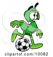Dollar Sign Mascot Cartoon Character Kicking A Soccer Ball by Toons4Biz