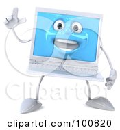 Royalty Free RF Clipart Illustration Of A 3d White Laptop Character Facing Front With An Idea by Julos