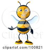Royalty Free RF Clipart Illustration Of A 3d Bee Character Facing Front And Gesturing