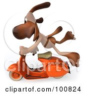 Royalty Free RF Clipart Illustration Of A 3d Brown Pooch Flying By On A Scooter