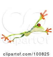 Royalty Free RF Clipart Illustration Of A 3d Argie Frog Facing Right And Leaping by Julos