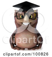 Royalty Free RF Clipart Illustration Of A 3d Owl Professor Facing Forward And Smiling by Julos
