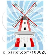 Royalty Free RF Clipart Illustration Of A Red And White Windmill In Blue Swirling Wind by mheld