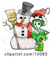 Dollar Sign Mascot Cartoon Character With A Snowman On Christmas by Toons4Biz