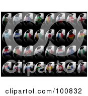 Royalty Free RF Clipart Illustration Of A Digital Collage Of 3d Flag Soccer Balls Of All Soccer World Cup 2010 Participating Countries On Black
