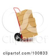 Royalty Free RF Clipart Illustration Of A 3d Red Hand Truck With Stacked Cardboard Boxes Out For Delivery