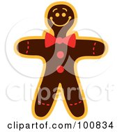 Royalty Free RF Clipart Illustration Of A Christmas Gingerbread Man Cookie With A Bow Tie by Zooco
