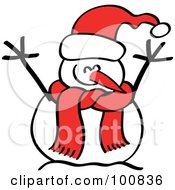 Happy Christmas Snowman In A Red Hat And Scarf