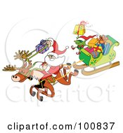 Royalty Free RF Clipart Illustration Of Santa Using A Gift Slingshot Riding A Reindeer And Pulling A Sleigh Of Gifts