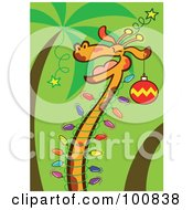 Royalty-Free (RF) Clipart Illustration of a Happy Christmas Giraffe Decorated In Christmas Tree Lights And Ornaments by Zooco #COLLC100838-0152