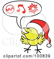 Royalty-Free (RF) Clipart Illustration of a Christmas Chicken Wearing A Santa Hat And Singing Carols by Zooco #COLLC100839-0152
