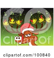 Royalty Free RF Clipart Illustration Of A Christmas Reindeer Wearing A Santa Hat With Six Birds Singing Tunes On His Antlers