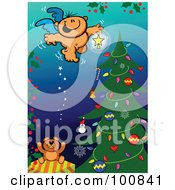 Royalty Free RF Clipart Illustration Of A Naked Angel Putting A Star On Top Of A Christmas Tree by Zooco