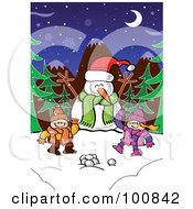 Royalty Free RF Clipart Illustration Of Two Children With Snowballs Waving By A Snowman In The Woods