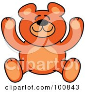 Royalty Free RF Clipart Illustration Of A Happy Orange Teddy Bear Smiling And Holding Up Its Arms