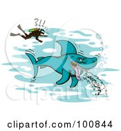 Royalty Free RF Clipart Illustration Of A Shocked Scuba Diver Above A Large Burping Shark by Zooco