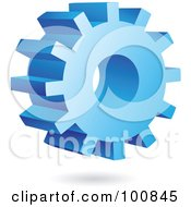 Royalty Free RF Clipart Illustration Of A 3d Blue Gear Cog Icon