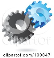 3d Metal And Blue Gear Cog Icon