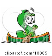 Dollar Sign Mascot Cartoon Character Rowing A Boat by Toons4Biz
