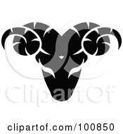 Royalty Free RF Clipart Illustration Of A Black And White Aries Ram Zodiac Icon by cidepix