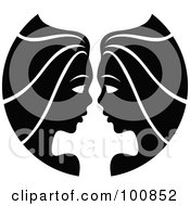Royalty Free RF Clipart Illustration Of A Black And White Twin Gemini Zodiac Icon by cidepix