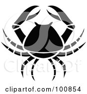 Royalty Free RF Clipart Illustration Of A Black And White Crab Cancer Zodiac Icon by cidepix