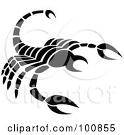 Royalty Free RF Clipart Illustration Of A Black And White Scorpion Scorpio Zodiac Icon by cidepix