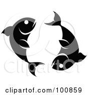 Royalty Free RF Clipart Illustration Of A Black And White Pisces Fish Zodiac Icon by cidepix