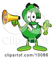 Dollar Sign Mascot Cartoon Character Holding A Megaphone by Toons4Biz