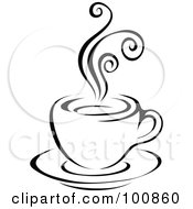Royalty Free RF Clipart Illustration Of A Black And White Steam Latte Logo