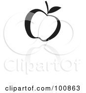 Royalty Free RF Clipart Illustration Of A Black And White Apple Icon