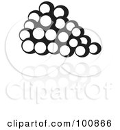 Royalty Free RF Clipart Illustration Of A Black And White Grapes Icon And Reflection by cidepix