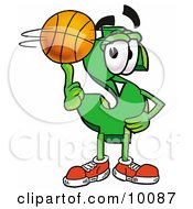 Clipart Picture Of A Dollar Sign Mascot Cartoon Character Spinning A Basketball On His Finger by Toons4Biz