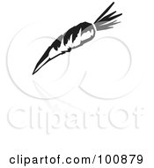 Black And White Carrot Icon And Reflection