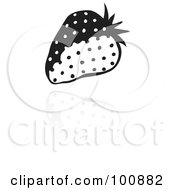 Royalty Free RF Clipart Illustration Of A Black And White Strawberry Icon And Reflection