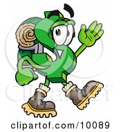 Clipart Picture Of A Dollar Sign Mascot Cartoon Character Hiking And Carrying A Backpack