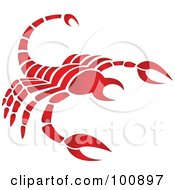 Royalty Free RF Clipart Illustration Of A Gradient Red Scorpion Scorpio Zodiac Icon by cidepix