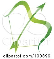 Gradient Green Sagittarius Bow And Arrow Zodiac Icon