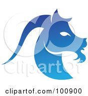 Royalty Free RF Clipart Illustration Of A Gradient Blue Capricorn Sea Goat Zodiac Icon
