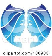Gradient Blue Twin Gemini Zodiac Icon