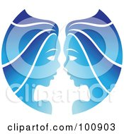 Royalty Free RF Clipart Illustration Of A Gradient Blue Twin Gemini Zodiac Icon by cidepix
