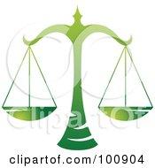 Gradient Green Libra Scales Zodiac Icon
